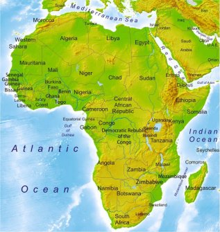 Africa Physical Map 2014 map of Africa